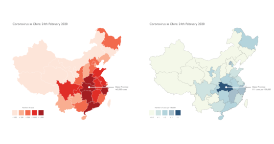 Alarmist and level-headed mapping of the spread of coronavirus in China