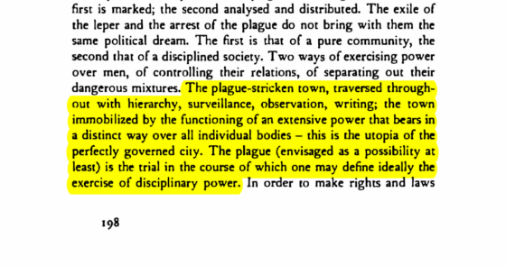 Michel Foucault on a plague-stricken town as a utopia of the perfectly governed city